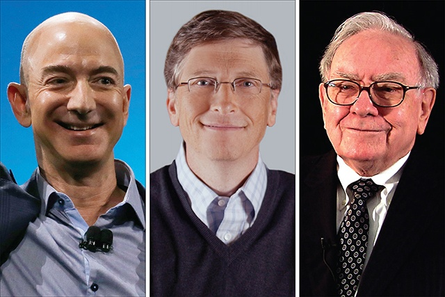 Jeff Bezos( L), Bill Gates C, Warren Buffett( R) . The 3 have more wealth than half the population of the US combined