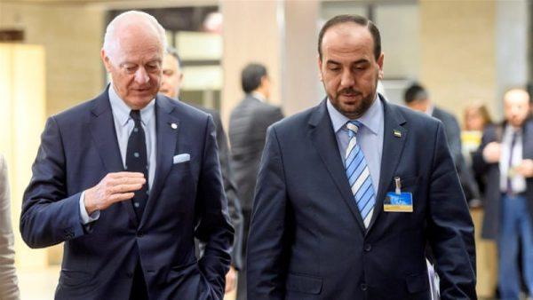 UN Syria envoy De Mistura, left, held talks with Syria's main opposition negotiator Nasr al-Hariri in Geneva on Thursday [Martial Trezzini/Reuters]