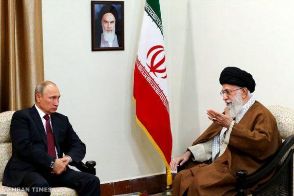 Iran's supreme leader Ayatollah Khamenei meets Russia's president Vladimir Putin