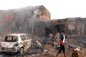 At least 50 people were killed today when a suicide bomber blew himself up at a mosque in northeast Nigeria in an attack blamed on Boko Haram  terrorists