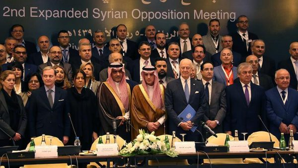 Saudi Foreign Minister Adel al-Jubeir (C) poses for a group photo during a Syrian opposition meeting in Riyadh, Saudi Arabia, November 22, 2017. REUTERS/Faisal Al Nasser