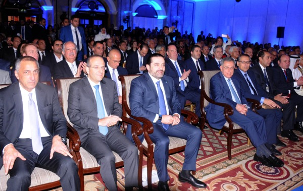 """Prime Minister Saad al-Hariri said on Thursday Lebanon's political crisis was """"a wake-up call"""" . He is shown here at the Annual Arab Banking Conference in Beirut"""
