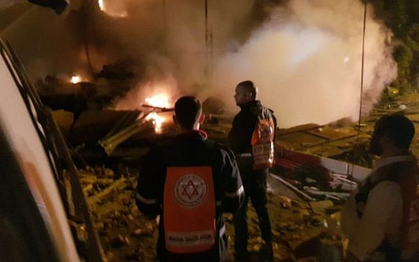 Medics at the site of an explosion and building collapse in Jaffa on November 27, 2017 (Magen David Adom)