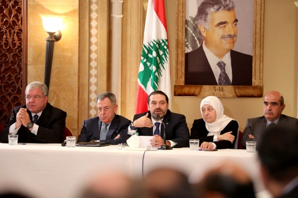 """Prime Minister Saad al-Hariri headed up a meeting of the Future Movement parliamentary bloc Thursday. He said Lebanon's political crisis was """"a wake-up call"""" for Lebanese with different loyalties to put their country ahead of regional issues."""