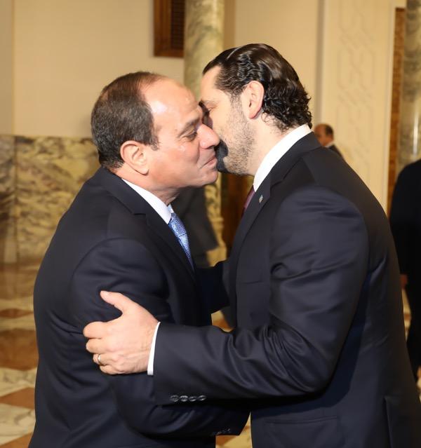 Egyptian President Abdel Fattah al-Sisi is shown with resigned PM Saad al-Hariri, who announced his resignation as Lebanese prime minister on Nov. 4, Photo courtesy of Dalati Nohra