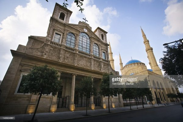 Symbols of coexistence in Lebanon ..St George's Cathedral stands next to the Mohammed al-Amin Mosque. Beirut,  Lebanon,