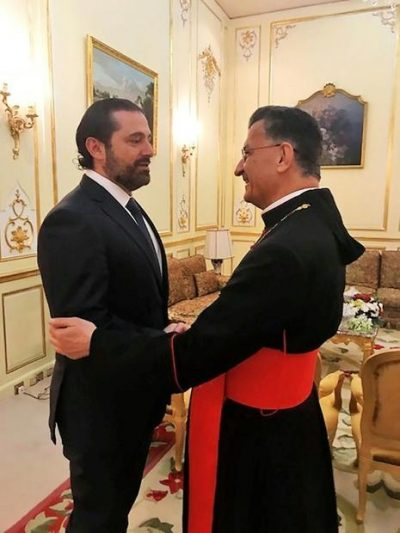 patriarch rai with Saad Hariri in Riyadh