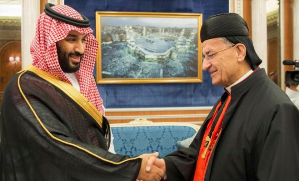Lebanon's Christian Maronite Patriarch Bechara al-Rai who is in a historic visit to Saudi Arabia is shown with Crown Prince Mohammad bin Salman Bin Abdul Aziz Al Saud Tuesday Nov 14 2017