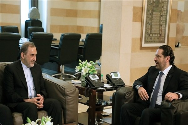 Iran's embassy in Beirut released this photo of Lebanese PM Saad Hariri and Iranian Supreme Leader's top aide for international affairs Ali Akbar Velayati , Sunday November 4, 2017