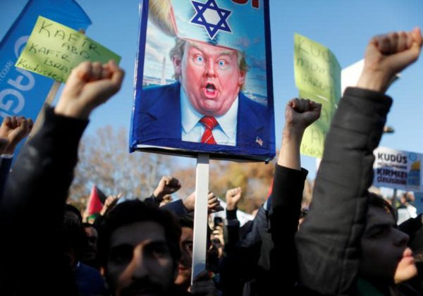 Demonstrators shout slogans during a protest against U.S. President Donald Trump's recognition of Jerusalem as Israel's capital, in Istanbul, Turkey December 8, 2017. . (photo credit: REUTERS/OSMAN ORSAL)