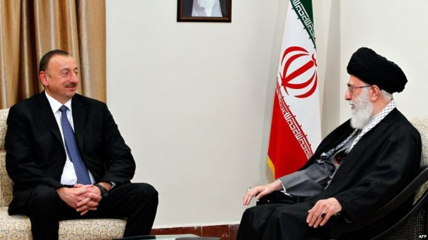 Azerbaijan's President Ilham Aliyev (left) meets with Iran's Supreme Leader Ayatollah Ali Khamenei in Tehran in November 2017. Baku is growing increasingly concerned about what it sees as growing Iranian manipulation of Azerbaijan's Shia Muslim believers. (Photo: Azerbaijani Presidential Press Service)