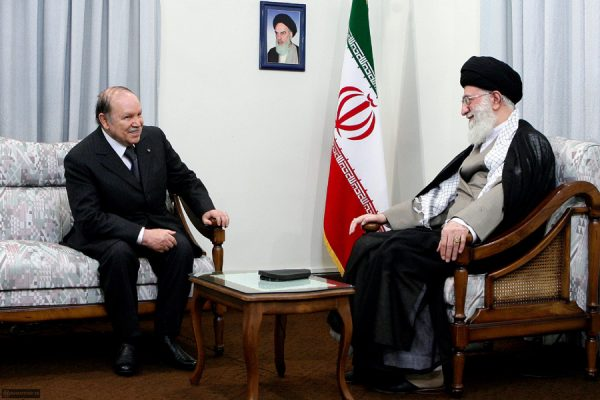 Ayatollah Ali Khamenei (R) meeting with visiting Algerian President Abdelaziz Bouteflika in 2010 in Tehran, Iran. IRan created Lebanon's Hezbollah militant group in the early eighties and continues to fund it and train it