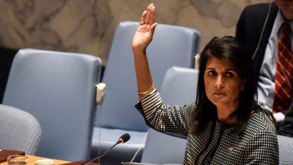 U.S. Ambassador to the United Nations Nikki Haley vetos an Egyptian-drafted resolution regarding recent decisions concerning the status of Jerusalem, during the United Nations Security Council meeting on the situation in the Middle East, including Palestine, at U.N. Headquarters in New York City, New York, U.S., December 18, 2017.