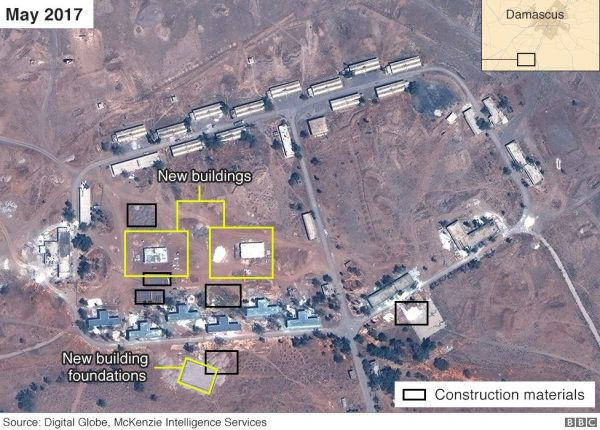 Satellite image of alleged Iranian base in Syria near Damascus