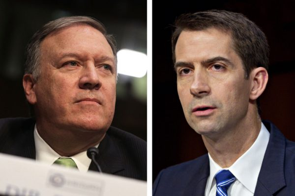 In a shuffle now reportedly underway, Mike Pompeo (L) would replace Rex Tillerson at State and Tom Cotton would replace Pompeo at the CIA. Photo: Alex Wong; Andrew Harrer/Bloomberg/Getty Images