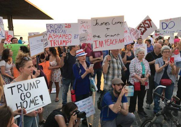 PROTESTERS DEMONSTRATE against US President Donald Trump in Tel Aviv