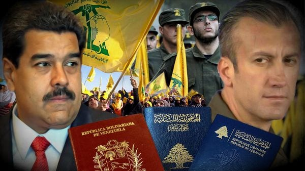 VP Tareck El Aissami (R) is shown with Prtesident Maduro , Hezbollah flags and passports