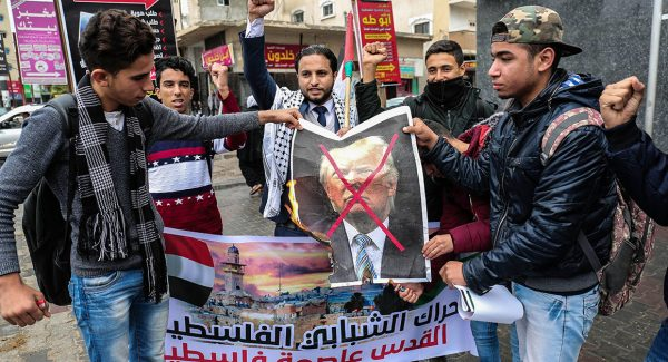 Palestinian protesters demonstrate against President Donald Trump recognizing Jerusalem as the capital of Israel. |