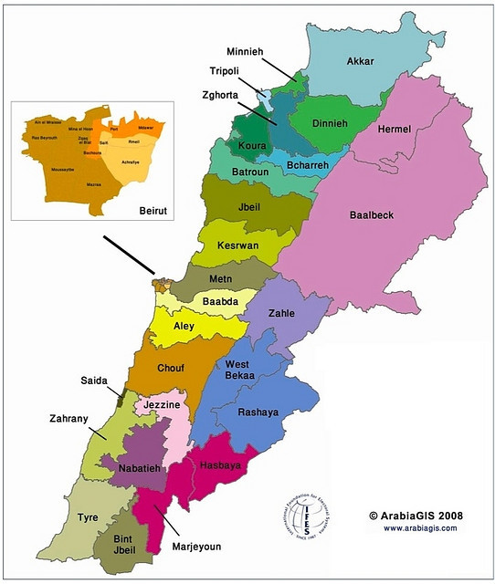2008 Electoral map of Lebanon according to the modified 1960 law