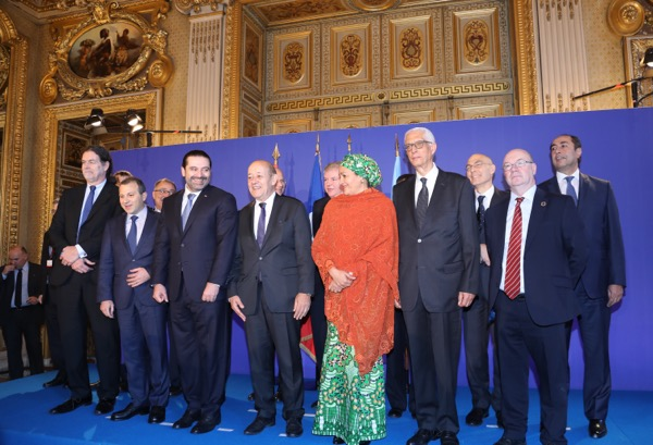 The International Support Group for Lebanon conference . Lebanese Prime Minister Saad Hariri met world leaders for crisis talks in Paris on Friday