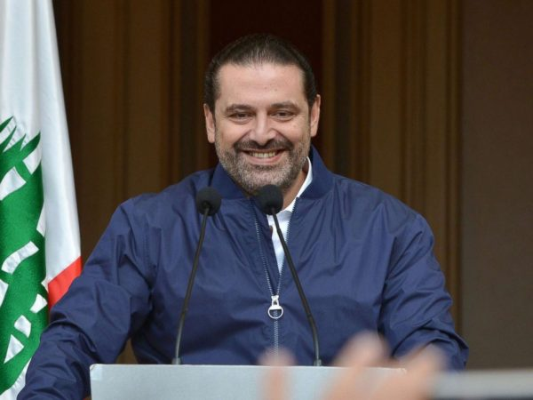 Lebanese Prime Minister Saad Hariri speaks to his supporters at his home in downtown Beirut, Lebanon, Nov. 22, 2017.