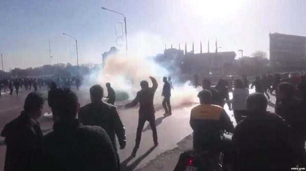 Protests in the city of Mashhad over unemployment, poverty, and rising prices , December 28, screen grab