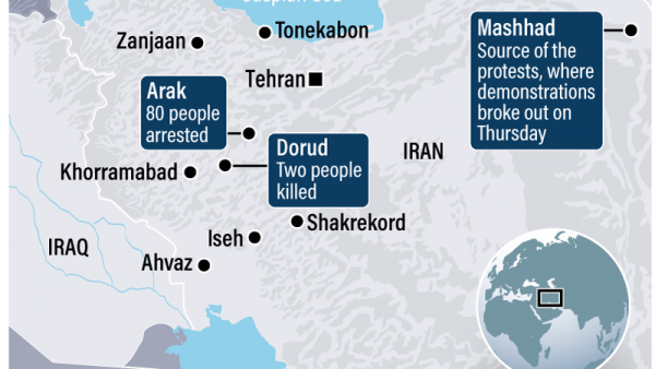 Iran riots map