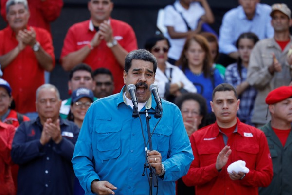 Venezuela's President Nicolas Maduro speaks during a rally to commemorate the 60th anniversary of the end of Venezuelan dictator Marcos Perez Jimenez's regime in Caracas, Venezuela January 23, 2018. REUTERS/Marco Bello/EKA