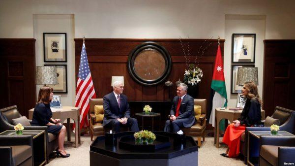 Jordan's King Abdullah, his wife Queen Rania (R), meet with U.S. Vice President Mike Pence, and wife Karen Pence, at the Royal Palace in Amman, Jordan January 21, 2018. REUTERS/Muhammad Hamed