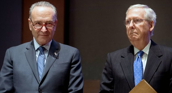 Senate Minority Leader Chuck Schumer (L) and Senate Majority Leader Mitch McConnell