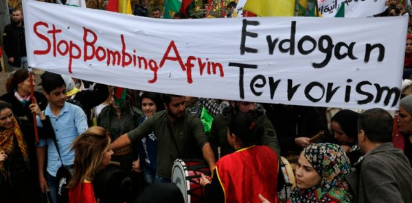 anti turkish protest by Kurds in Lebanon