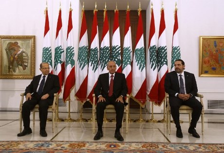 Lebanese prime minister Saad Hariri (R) meets President Michel Aoun (L) and Parliament speaker Nabih Berri(C) at the presidential palace in Baadba on November 22, 2017.