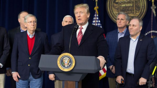 At a news conference at Camp David Jan 6., President Trump responded to a question from a reporter about a tweet he posted on his mental state earlier that day. (The Washington Post)