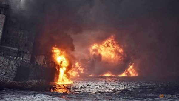 Iranian oil tanker Sanchi is seen engulfed in fire in the East China Sea, in this January 13, 2018 picture provided by Shanghai Maritime Search and Rescue Centre and released by China Daily. China Daily via REUTERS Read more at https://www.channelnewsasia.com/news/asiapacific/no-survivors-as-iranian-tanker-sinks-engulfed-in-flames-9860438