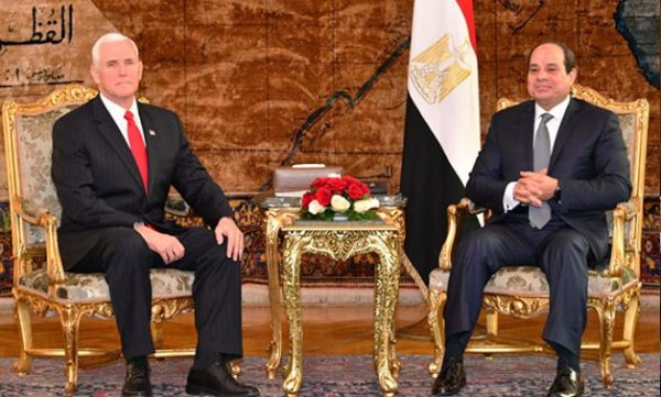US Vice President Mike Pence is inEgypt, where he pledged firm US backing to President Abdel Fattah al-Sisi in the nation's fight against militants