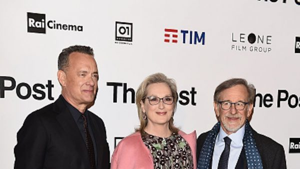 "Tom Hanks, Meryl Streep and Steven Spielberg attend the ""The Post"" premiere on Jan. 15, 2018 in Milan, Italy. A ban on Spielberg's new movie has been issued in Lebanon because of Spielberg's support of Israel. (Stefania M. D'Alessandro/Getty Images)"