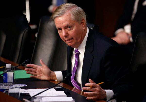 """Senator Lindsey Graham (R-SC) questions U.S. Secretary of Homeland Security Kirstjen Nielsen during a hearing with the Senate Judiciary Committee on """"Oversight of the U.S. Department of Homeland Security"""" on Capitol Hill in Washington, U.S., January 16, 2018. REUTERS/Joshua Roberts"""