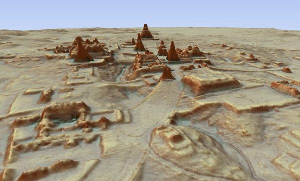 This digital 3D image provided by Guatemala's Mayan Heritage and Nature Foundation, PACUNAM, shows a depiction of the Mayan archaeological site at Tikal in Guatemala created using LiDAR aerial mapping technology. Researchers announced Thursday, Feb. 1, 2018, that using a high-tech aerial mapping technique they have found tens of thousands of previously undetected Mayan houses, buildings, defense works and roads in the dense jungle of Guatemala's Peten region, suggesting that millions more people lived there than previously thought.