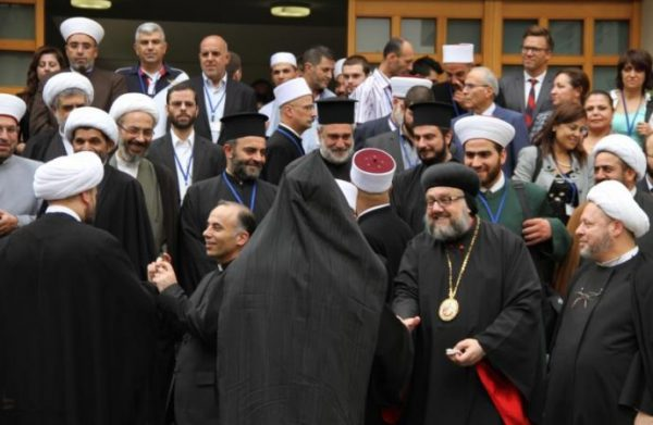 In this 2013 file photo, interreligious leaders gather in Beirut for Adyan Foundation's launch of their first toolkit for faith-based educational institutions on values of citizenship and public life. (Credit: CNS photo/courtesy Adyan Foundation.)