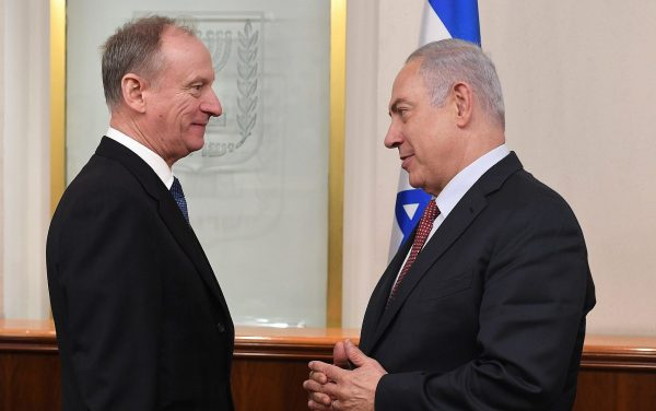 Russian Federation Security Council Secretary Nikolai Patrushev, left, meets with Prime Minister Benjamin Netanyahu