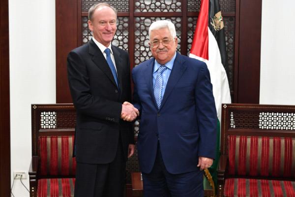 President Mahmoud Abbas with the Secretary of the Russian National Security Council Nikolai Patrushev in Ramallah (WAFA Images/Usama Falah)