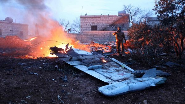 wreckage of Russia's Sukhoi-25 aircraft shot down by the rebels in Syria