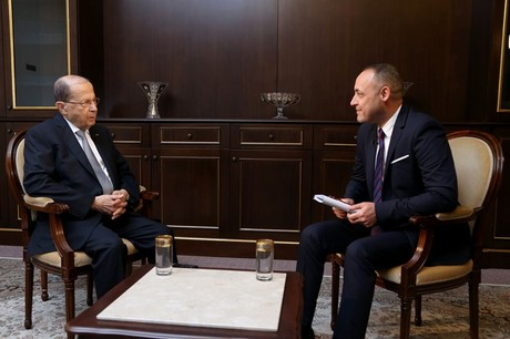 """President Michel Aoun stressed in an interview on the Iraqi Alsumaria TV network on Friday that Lebanon is ready to resort to arbitrage to bring to an end the maritime dispute with Israel, warning the Jewish state of """"severe consequences"""" it may face if a resolution isn't reached."""