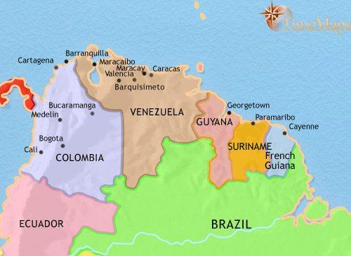 venezuela brazil columbia map