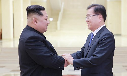 STR / KCNA VIA KNS / AFP | Picture taken on March 5, 2018 and released by North Korea on March 6, 2018 shows North Korean leader Kim Jong-Un (L) with South Korean chief delegator Chung Eui-yong (R) in Pyongyang.