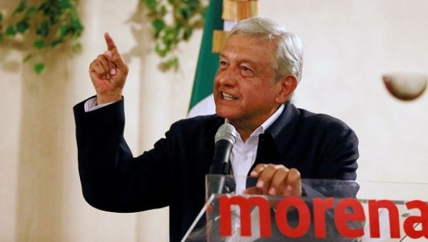 "Mexico's presidential front-runner Andres Manuel Lopez Obrador launched his campaign demanding respect for Mexicans . ""Mexico and its people will not be the pinata of any foreign government,"" Lopez Obrador said in a speech to thousands of people who jeered and swore at the mention of Trump. The U.S. president is almost universally disliked in Mexico."