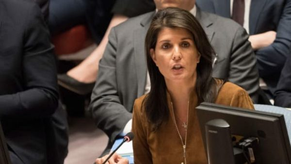 U.S. Ambassador to the UN Nikki Haley speaks during an emergency United Nations Security Council meeting on April 9, 2018.DON EMMERT/AFP