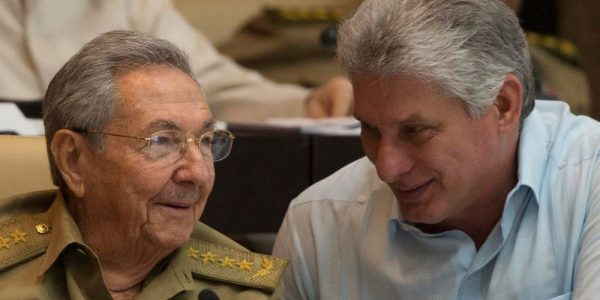 Cuban President Raul Castro, left, talks with First Vice-Presidente Miguel Diaz-Canel during the First Annual Session of the Cuban Parliament at the Convention Palace in Havan on July 8, 2016.Ismael Francisco / AFP - Getty Images file