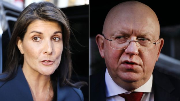 Nikki Haley and  Russian UN envoy Vasily Nebenzia clashed at the UN