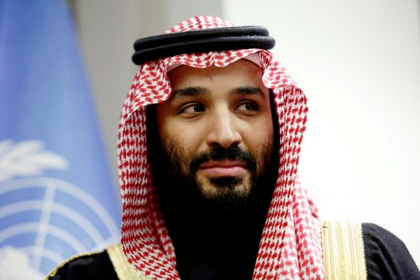 FILE PHOTO:    Saudi Arabia's Crown Prince Mohammed bin Salman Al Saud is seen during a meeting with U.N Secretary-General Antonio Guterres at the United Nations headquarters in the Manhattan borough of New York City, New York, U.S. March 27, 2018. REUTERS/Amir Levy/File Photo